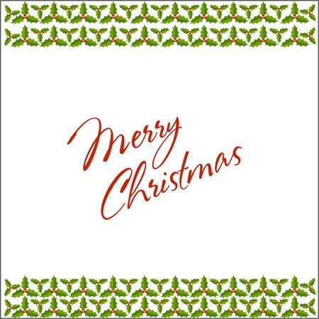 Christmas holly border and frame celebration postcard Stock Vector - 16234177
