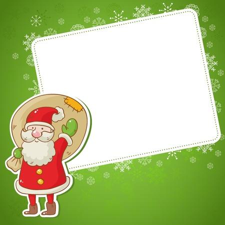Vrolijk kerstfeest wenskaart met schattige Santa en een zak cadeautjes en sticker Stock Illustratie