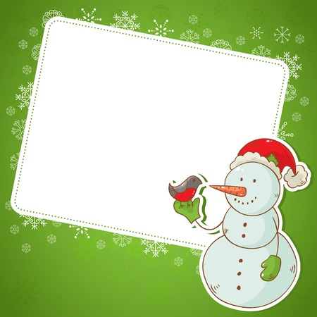 Christmas snowman invitation postcard with cartoon character on snowflakes background Vector