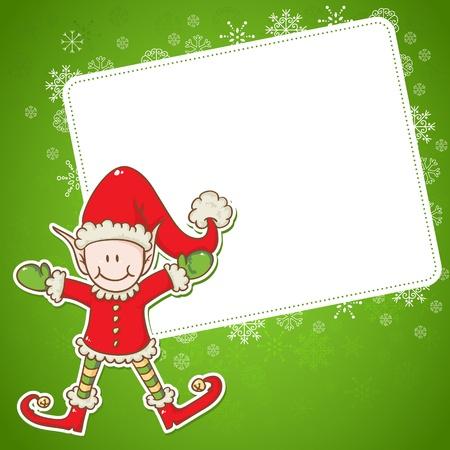 postcard: Christmas card with cute little elf Santa helper