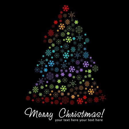 stylized design: Stilizzato albero silhouette disegno di Natale fatto di fiocchi di neve