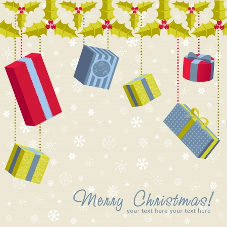 A set of colorful gift boxes hanging from holly garland christmas card Vector