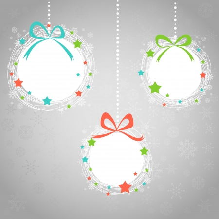 Cute Hand drawn Christmas ball toys card with snowflakes Stock Vector - 16424320