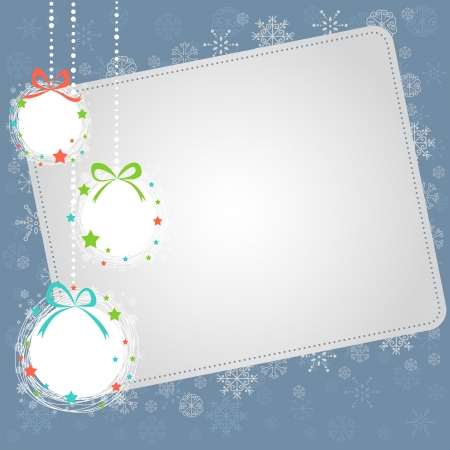 yule: Cute Hand drawn Christmas ball toys card with snowflakes