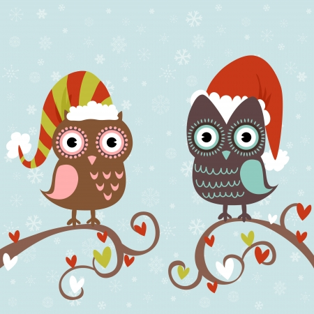 christmas owl: Cute winter Christmas card of owls in hats sitting on a tree branch Illustration