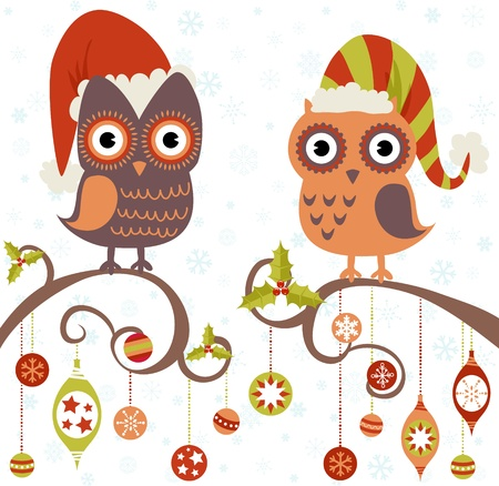 Cute winter Christmas card of owls in hats sitting on a tree branch with ball toys Stock Vector - 16424305