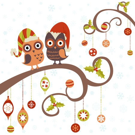owl on branch: Cute winter Christmas card of owls in hats sitting on a tree branch with ball toys