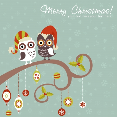 christmas owl: Cute winter Christmas card of owls in hats sitting on a tree branch with ball toys
