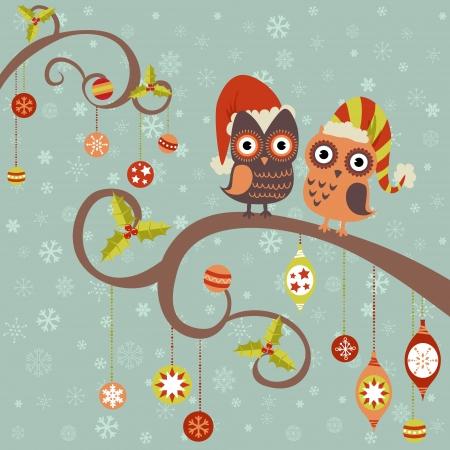buhos y lechuzas: Tarjeta de Navidad linda del invierno de los b�hos en los sombreros sentado en una rama de un �rbol con los juguetes de la bola