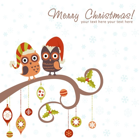 owl illustration: Cute winter Christmas card of owls in hats sitting on a tree branch with ball toys