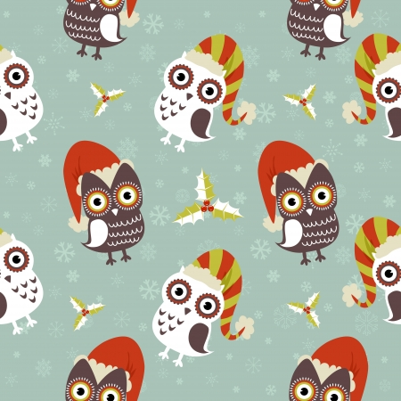 cute christmas: Cute Christmas owl with presents seamless pattern
