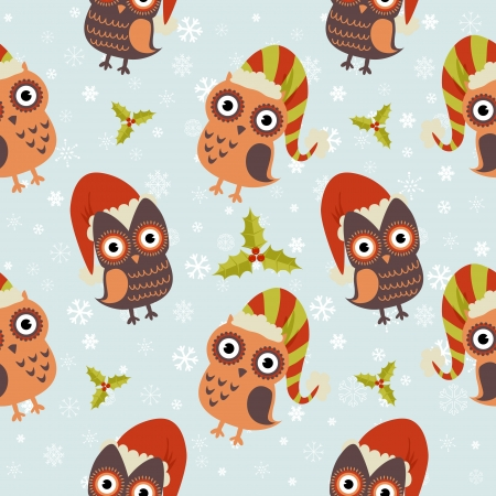 christmas wrapping: Cute Christmas owl with presents seamless pattern
