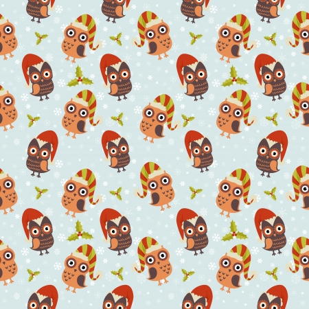 Cute Christmas owl with presents seamless pattern Stock Vector - 16424344