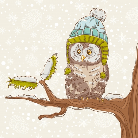 Cute winter Christmas card of an owl in a hat sitting on a tree branch Stock Vector - 16424333