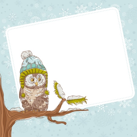 christmas owl: Cute winter Christmas card of an owl in a hat sitting on a tree branch