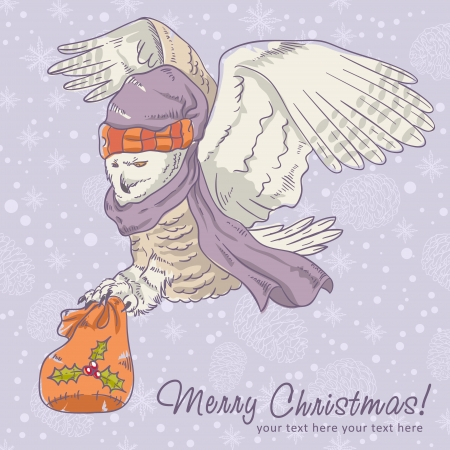 Cute winter Christmas card of an owl in a hat holding a sack of presents Vector