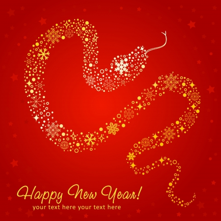 Stylized chinese New Year card of Snake made of snowflakes
