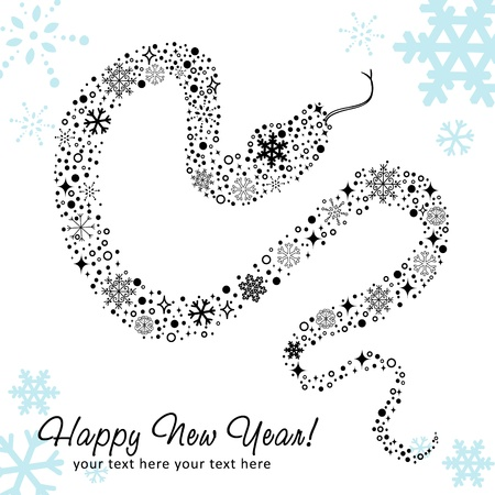 Stylized chinese New Year card of Snake made of snowflakes Vector