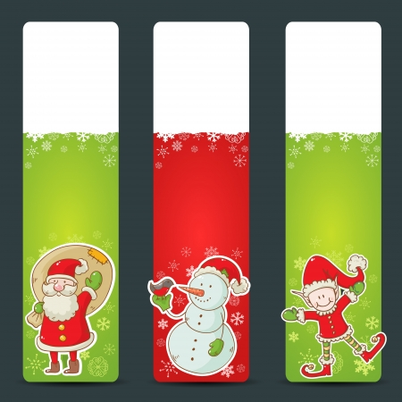 Christmas congratulation stickers with santa, elf and snowman Vector