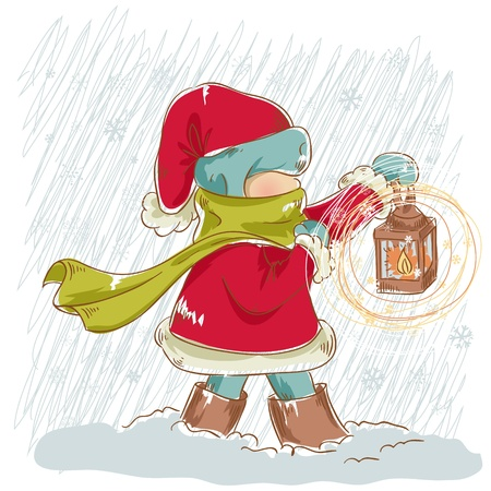 Cute child walking in snowfall with a lantern in his hand Vector