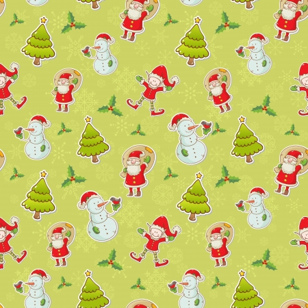 Christmas cartoon characters seamless pattern with Santa Claus, elf and snowman on winter snowflakes background Vector