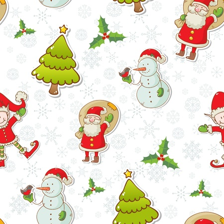 Christmas cartoon characters seamless pattern with Santa Claus, elf and snowman on winter snowflakes background Stock Vector - 16469768