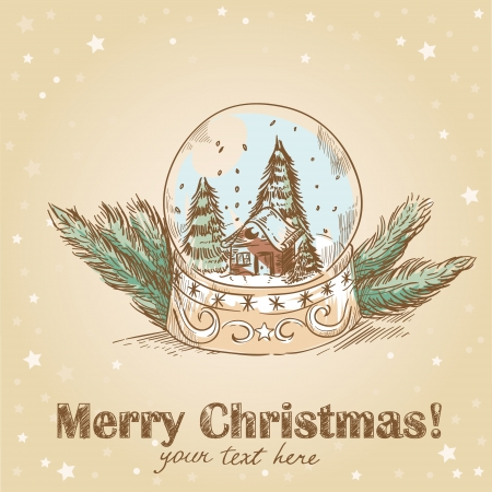 Christmas hand drawn retro postcard with cute glass ball with snowflakes, xmas trees and house inside Vector