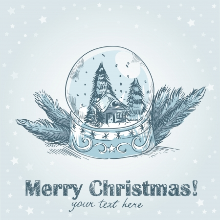 Christmas hand drawn retro postcard with cute glass ball with snowflakes, xmas trees and house inside