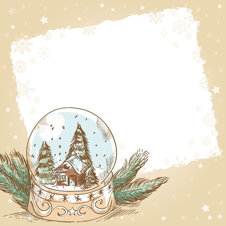 christmas house: Christmas hand drawn retro postcard with cute glass ball with snowflakes, xmas trees and house inside