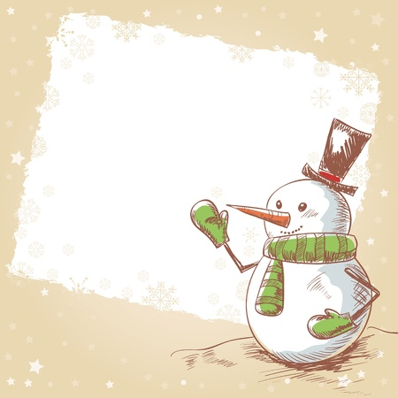 Hand drawn vintage christmas card with funny smiling snowman wearing scarf, mittens and a hat Vector