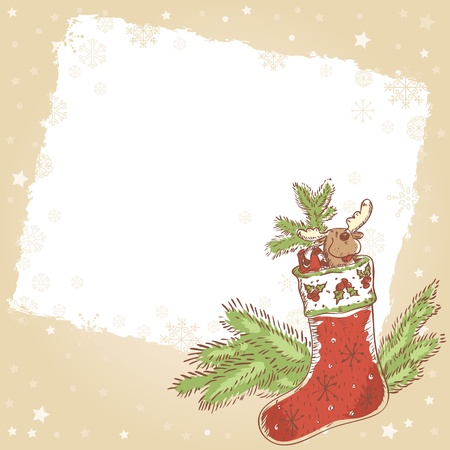 Cute Christmas hand drawn ink retro postcard with funny xmas stocking full of presents, candy cane, plush santa Vector