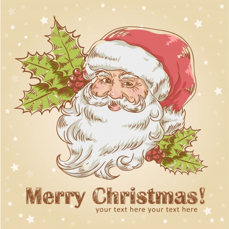 Christmas hand drawn retro postcard with cute smiling Santa Claus and holly plant Vector