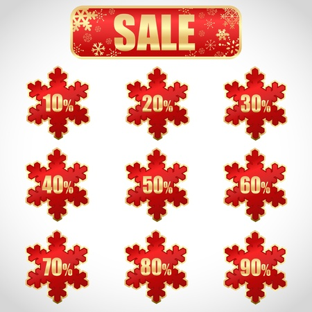 abatement: Colorful winter Christmas sale stickers and tags with discounts and snowflakes