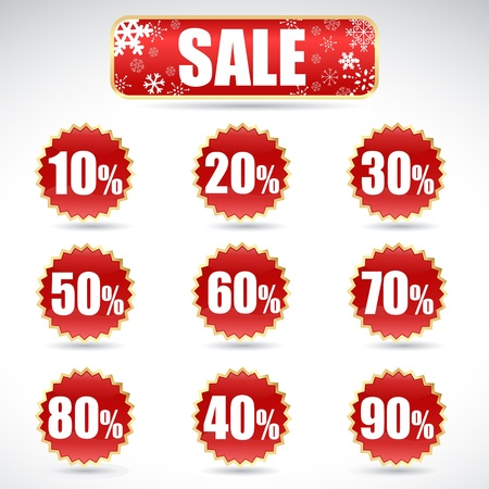 Colorful winter Christmas sale stickers and tags with discounts and snowflakes Vector
