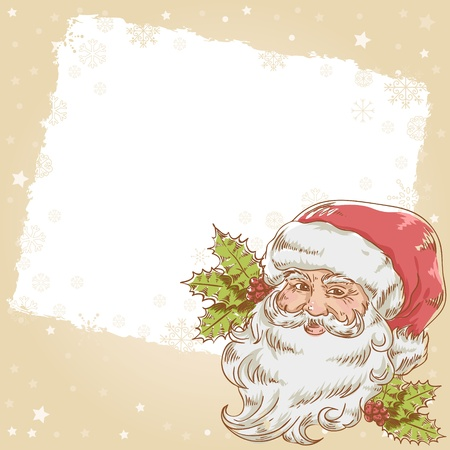 nicholas: Christmas hand drawn retro postcard with cute smiling Santa Claus and holly plant Illustration