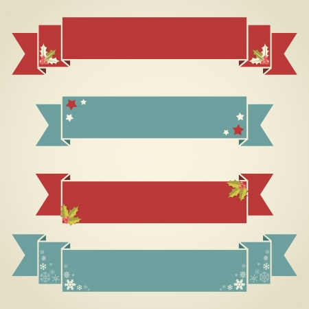 Winter design Christmas ribbons for text and sale discounts in retro vintage style Vector