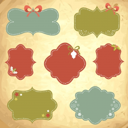 Winter design Christmas sale stickers and tags for text and discounts in retro vintage style Vector