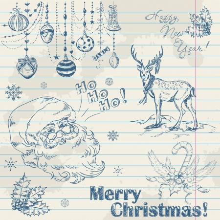 pelota caricatura: Dibujado a mano elementos de �poca de Navidad en papel de cuaderno con Pap� Noel, ciervos, juguetes y acebo Vectores
