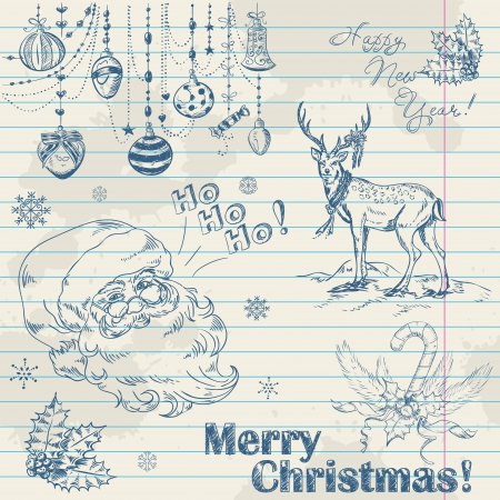 cartoon santa: Hand drawn vintage Christmas elements on notebook paper with Santa, deer, toys and holly Illustration