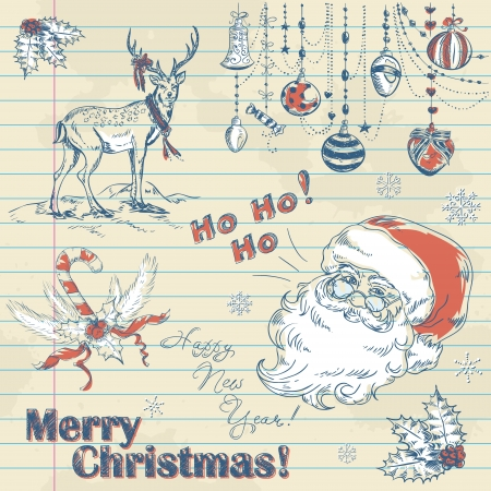 Hand drawn vintage Christmas elements on notebook paper with Santa, deer, toys and holly Vector