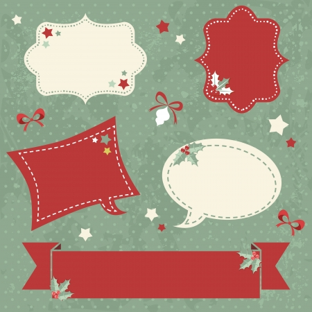 Winter design Christmas sale stickers and tags for text and discounts in retro vintage style Stock Vector - 16771988