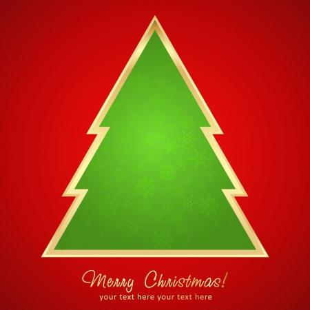 Beautiful Christmas greeting card with cartoon xmas tree Stock Vector - 16771996