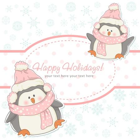 Hermosa tarjeta de Navidad del invierno con los pingüinos con sombreros y bufandas