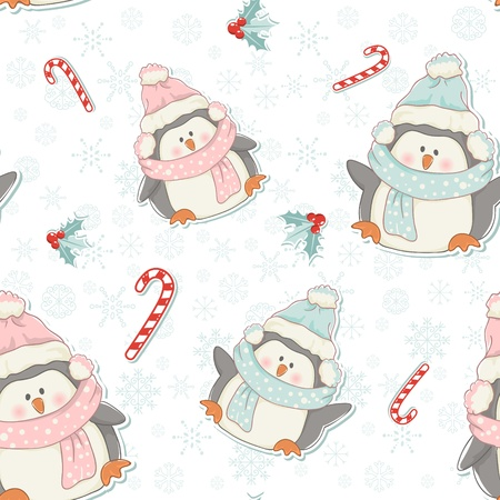 Cute Christmas penguins seamless pattern with candy canes, holly plants and snowflakes Vector