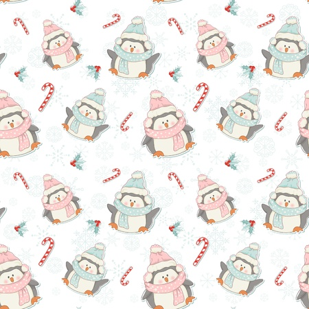 Cute Christmas penguins seamless pattern with candy canes, holly plants and snowflakes Ilustrace