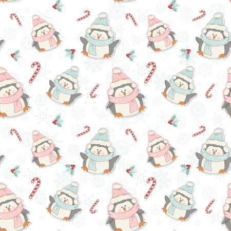 pinguinos navidenos: Lindos ping�inos de la Navidad incons�til del modelo con los bastones de caramelo, plantas de acebo y copos de nieve Vectores
