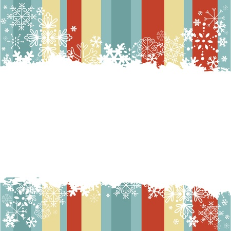 snowflake border: Winter invitation postcard with snowflakes and grungy empty  place for text