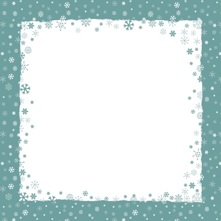 New Year  Christmas  background with snowflakes border and grunge elements Stock Vector - 16858116