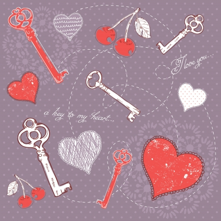 Valentine romantic love card with key to heart and I love you text on polka dot background Vector