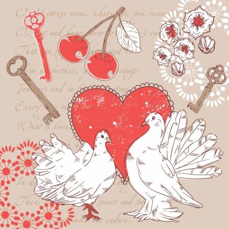italic: Valentine romantic retro postcard with hearts and doves on a verse italic text background